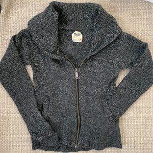 Aritzia TNA 100% Wool Zip Up Sweater Gray Sz M